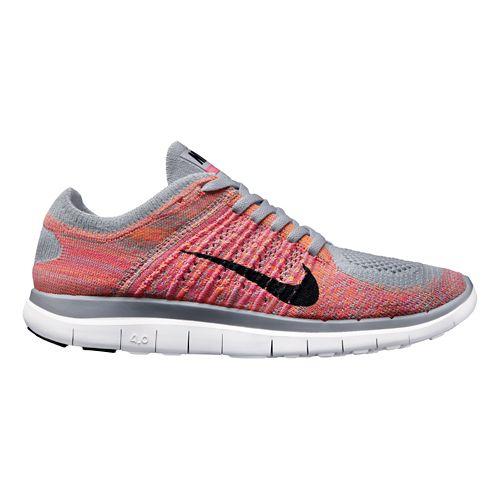 Womens Nike Free 4.0 Flyknit Running Shoe - Grey/Coral 10.5