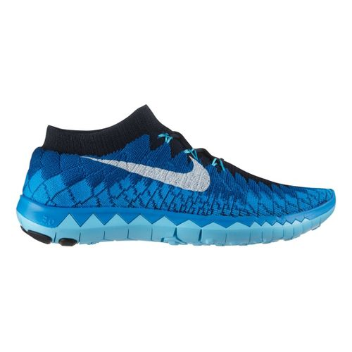 Mens Nike Free 3.0 Flyknit Running Shoe - Blue 10.5