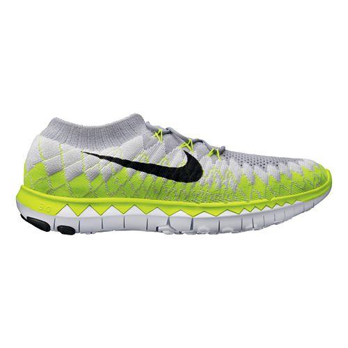 Mens Nike Free 3.0 Flyknit Running Shoe - Grey/Volt 11