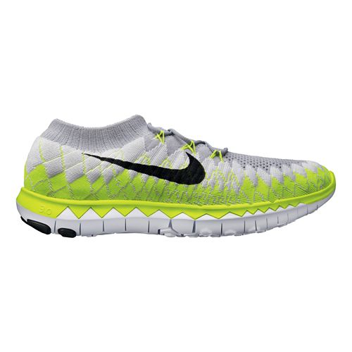 Mens Nike Free 3.0 Flyknit Running Shoe - Grey/Volt 9.5