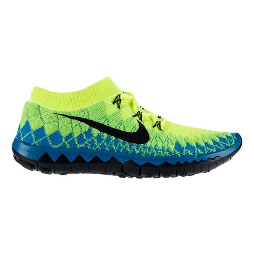 Mens Nike Free 3.0 Flyknit Running Shoe - Volt/Turquoise 10.5