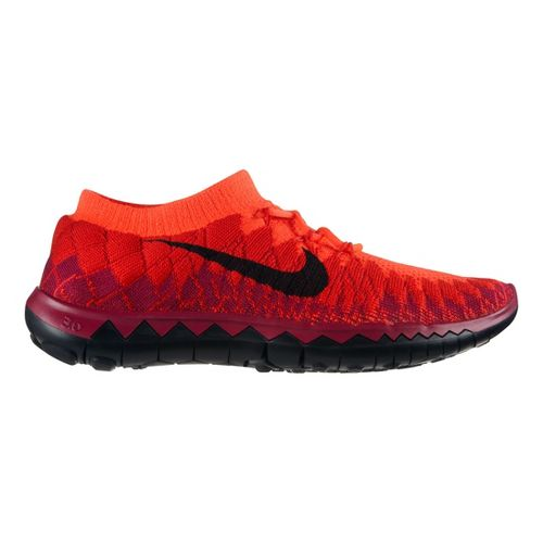 Womens Nike Free 3.0 Flyknit Running Shoe - Bright Crimson 8.5