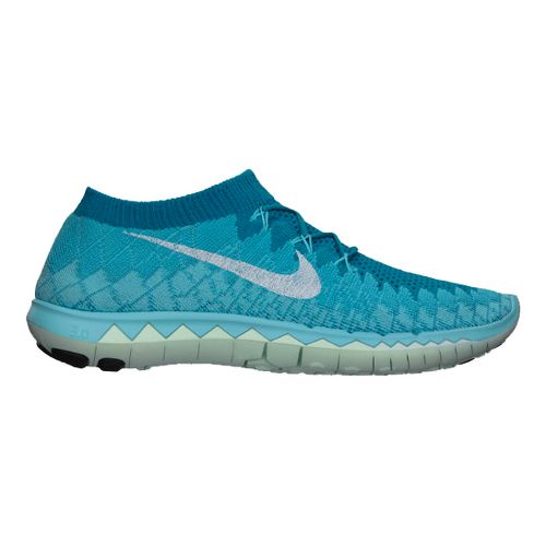 Womens Nike Free 3.0 Flyknit Running Shoe - Blue 8.5