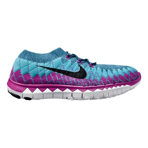Womens Nike Free 3.0 Flyknit Running Shoe - Blue/Fuschia 8.5