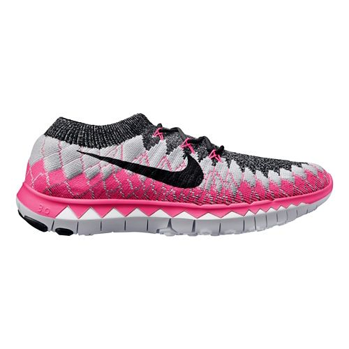 Womens Nike Free 3.0 Flyknit Running Shoe - Grey/Pink 8.5