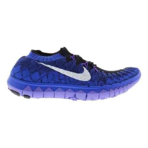 Womens Nike Free 3.0 Flyknit Running Shoe - Royal/Grape 9.5