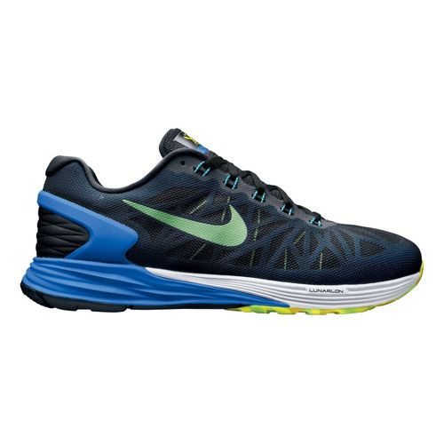 Mens Nike LunarGlide 6 Running Shoe - Black/Blue 9.5