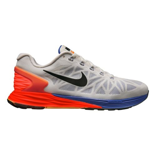 Mens Nike LunarGlide 6 Running Shoe - White/Orange 12.5