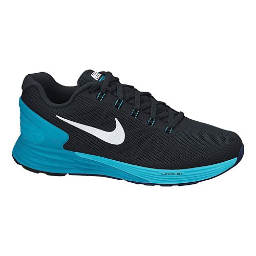 Womens Nike LunarGlide 6 Running Shoe - Black/Blue 8