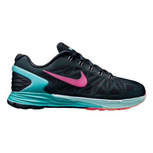 Womens Nike LunarGlide 6 Running Shoe - Black/Blue 7.5