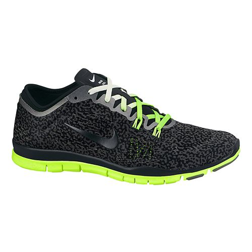 Womens Nike Free 5.0 TR Fit 4 Print Cross Training Shoe - Charcoal/Volt 7