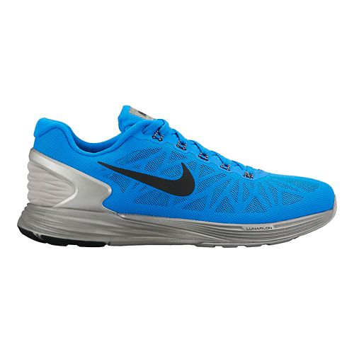 Mens Nike LunarGlide 6 Flash Running Shoe - Blue/Silver 11.5