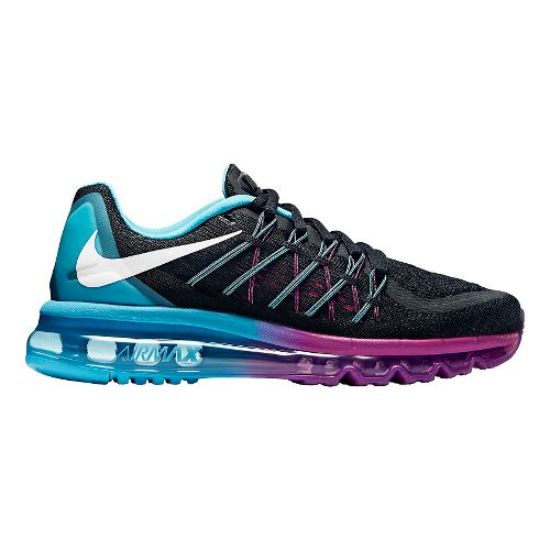 Womens Nike Air Max 2015 Running Shoe - Black/Blue 10