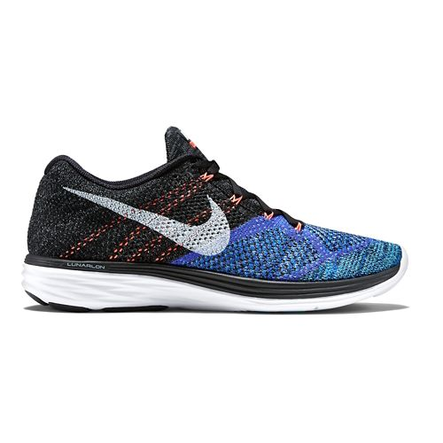 Mens Nike Flyknit Lunar 3 Running Shoe - Blue/Black 10