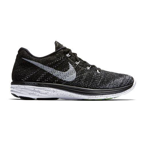 Mens Nike Flyknit Lunar 3 Running Shoe - Black/Grey 9