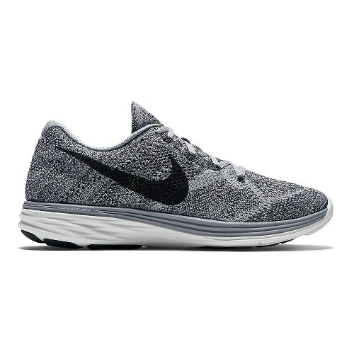 Mens Nike Flyknit Lunar 3 Running Shoe - Grey/White 14