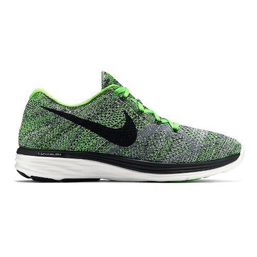 Mens Nike Flyknit Lunar 3 Running Shoe - Green/Grey 11.5