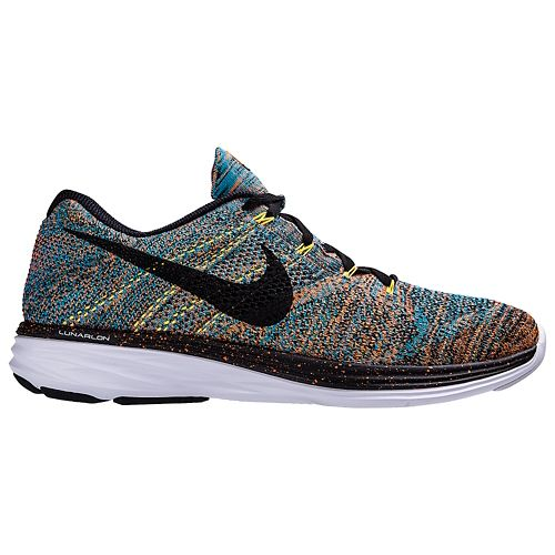 Mens Nike Flyknit Lunar 3 Running Shoe - Blue/Orange 11.5