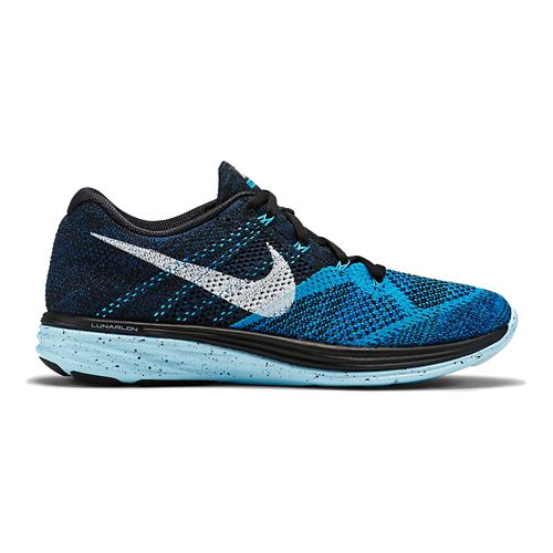 Mens Nike Flyknit Lunar 3 Running Shoe - Black/Blue 9.5