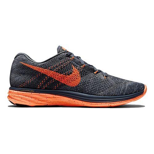Mens Nike Flyknit Lunar 3 Running Shoe - Charcoal/Orange 10