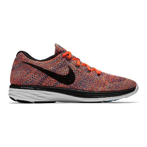 Mens Nike Flyknit Lunar 3 Running Shoe - Blue/Orange 13