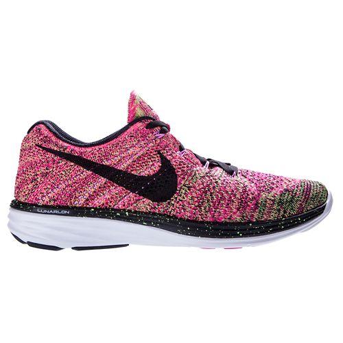 Womens Nike Flyknit Lunar 3 Running Shoe - Pink 10