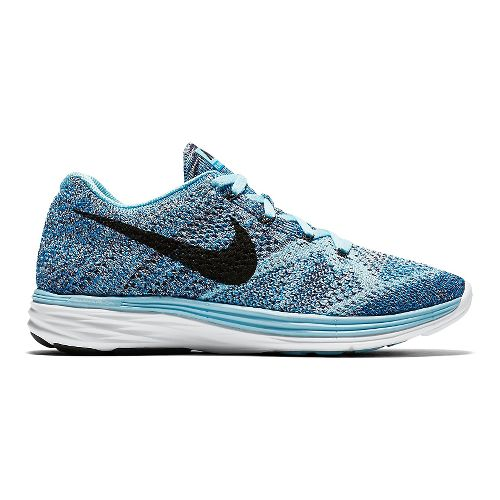 Womens Nike Flyknit Lunar 3 Running Shoe - Blue 6