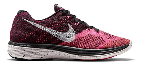 Womens Nike Flyknit Lunar 3 Running Shoe - Black/Pink 11