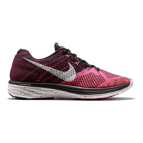 Womens Nike Flyknit Lunar 3 Running Shoe - Black/Pink 9