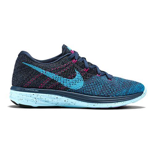 Womens Nike Flyknit Lunar 3 Running Shoe - Charcoal/Blue 10.5