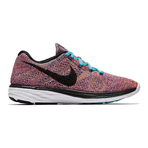 Womens Nike Flyknit Lunar 3 Running Shoe - Black/Teal 6