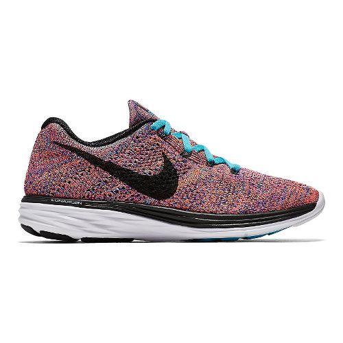 Womens Nike Flyknit Lunar 3 Running Shoe - Black/Fuchsia 8