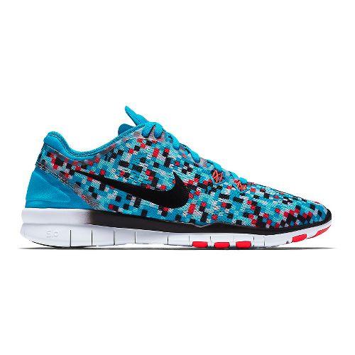 Womens Nike Free 5.0 TR Fit 5 Print Cross Training Shoe - Blue/Bright Crimson 9.5 ...