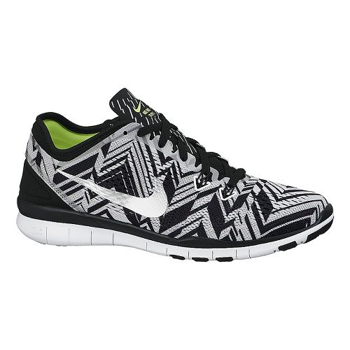 Womens Nike Free 5.0 TR Fit 5 Print Cross Training Shoe - Black/Silver 7.5