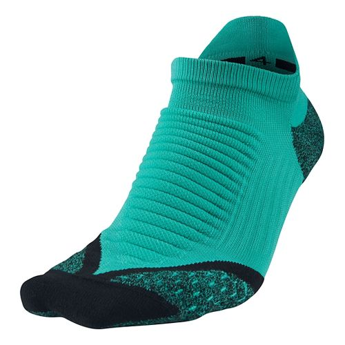 Nike Elite Running Cushion No Show Tab Socks - Light Retro Green S