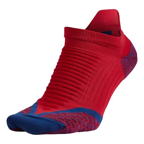 Nike Elite Running Cushion No Show Tab Socks - University Red M