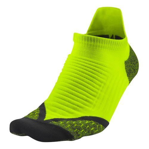 Nike Elite Running Cushion No Show Tab Socks - Volt L
