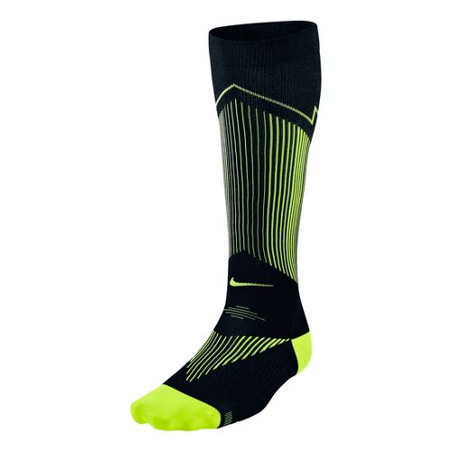 Nike Elite Running Graduated Compression Sock Injury Recovery - Black/Volt L