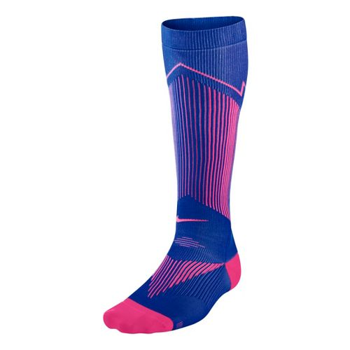 Nike Elite Running Graduated Compression Sock Injury Recovery - Hyper/Cobalt S