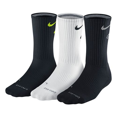 Nike Dri-FIT Fly Crew Socks 3 pack - Black/White L