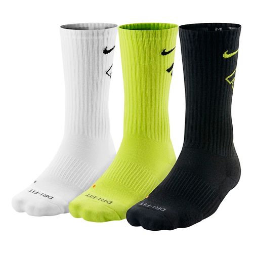 Nike Dri-FIT Fly Crew Socks 3 pack - Cyber/Black L