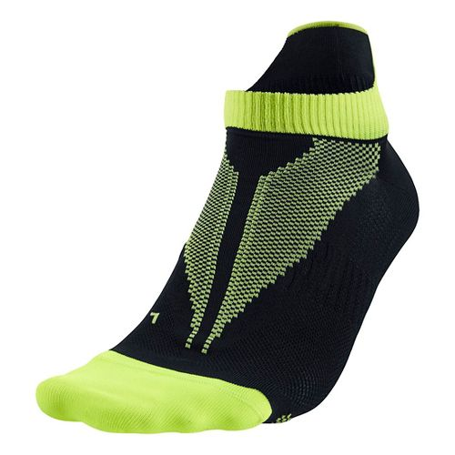 Nike Elite Lightweight No Show Socks - Black/Volt L