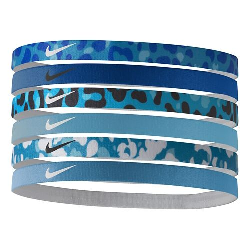 Womens Nike Printed Headbands 6 pack Headwear - Blue Lagoon