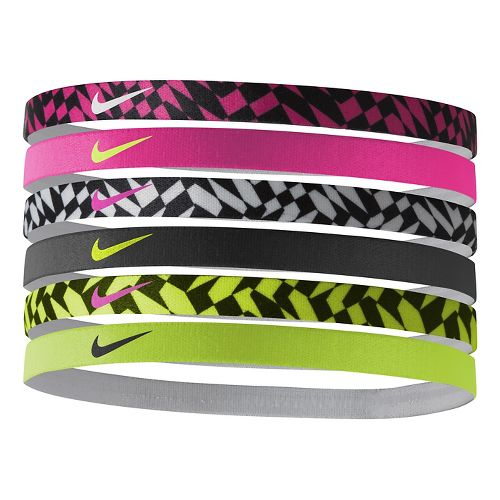 Womens Nike Printed Headbands 6 pack Headwear - Pink Pow
