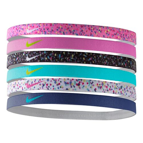 Womens Nike Printed Headbands 6 pack Headwear - Hot Pink With Print