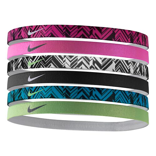 Womens Nike Printed Headbands 6 pack Headwear - Pink