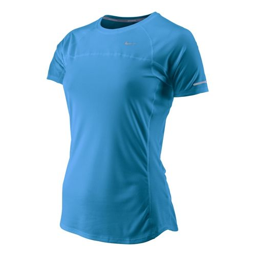 Womens Nike Miler Short Sleeve Technical Tops - Arctic Blue L