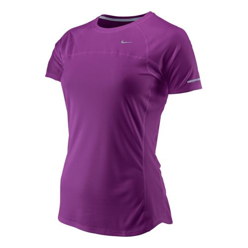 Womens Nike Miler Short Sleeve Technical Tops - Berry XS