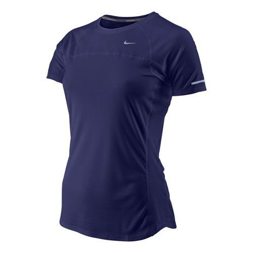 Womens Nike Miler Short Sleeve Technical Tops - Blue Night S