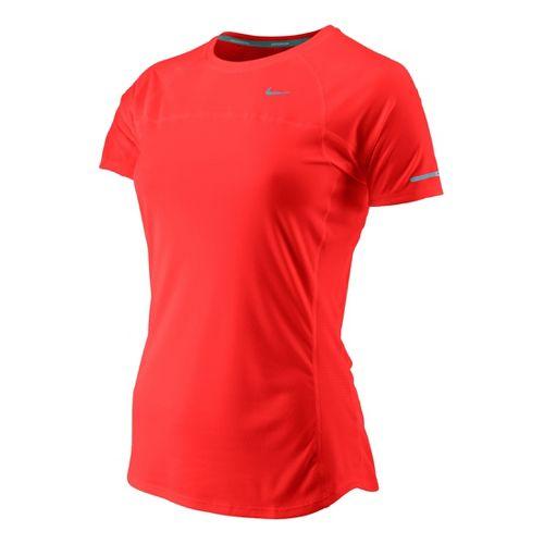 Womens Nike Miler Short Sleeve Technical Tops - Crimson Red M
